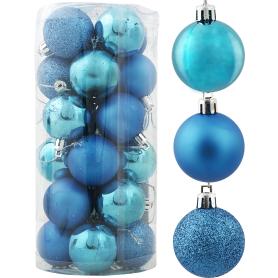 Набор ёлочных шаров 4 см цвет голубой, 24 шт.
