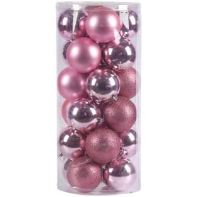 Набор ёлочных шаров 10 см цвет розовый, 24 шт.