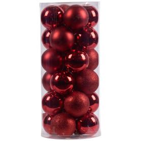 Набор ёлочных шаров 10 см цвет красный, 24 шт.