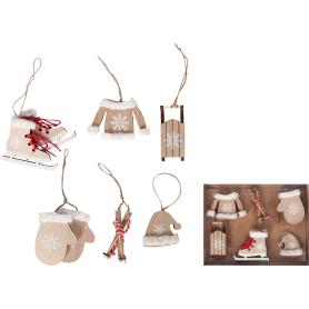 Набор ёлочных украшений 17 см, дерево, цвет бежевый, 6 шт.