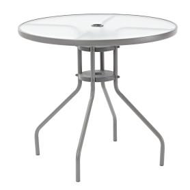 Стол садовый круглый Elia 80х70 см сталь/стекло серый
