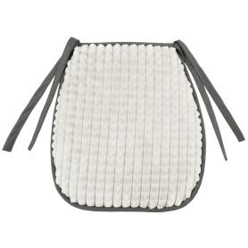 Галета для стула «Плюш» 38х40 см, плюш, цвет белый/серый