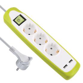 Удлинитель с заземлением на 3 розетки, 2 м, выключатель, 2 USB, цвет белый