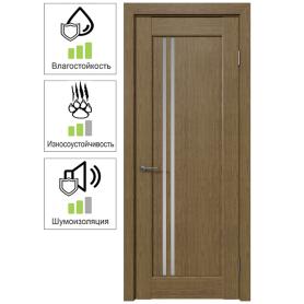 Дверь межкомнатная остеклённая Дельта вертикальная 90x200 см, ПВХ, цвет ольха золотая, с фурнитурой