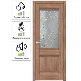 Дверь межкомнатная остеклённая с замком и петлями в комплекте «Тоскана» 70x200 см цвет дуб бельмонт