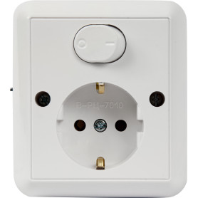 Блок выключатель с розеткой встраиваемый Bylectrica В-РЦ-7010, 1 клавиша, с заземлением, цвет белый