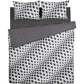 Комплект постельного белья Василиса Рельефные волны двуспальный бязь черный