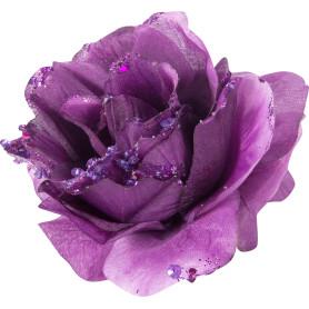 Украшение новогоднее «Цветок с блёстками», 8.5 см, полиэстер, цвет фиолетовый