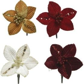 Украшение ёлочное «Цветок», 10 см, полиэстер, цвет в ассортименте