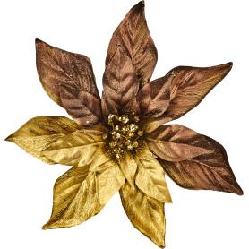 Украшение новогоднее «Пуансеттия», 23 см, пластик, цвет золото