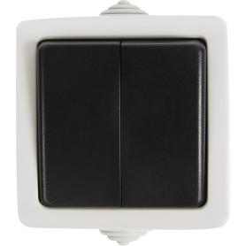Выключатель накладной влагозащищенный LK Studio Aqua 2 клавиши IP54 цвет серый