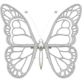 Украшение новогоднее «Бабочка», пластик, цвет серебро