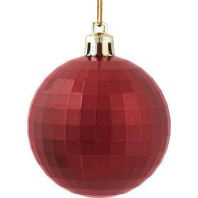 Шар ёлочный «Диско» 6 см, пластик, цвет красный