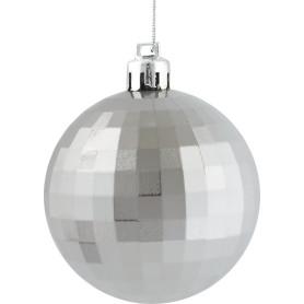Шар ёлочный «Диско» 6 см, пластик, цвет серебряный