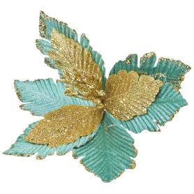 Украшение ёлочное «Цветок», 17 см, цвет бирюзовый/золотой