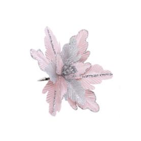Украшение ёлочное «Цветок», 18 см, цвет серебряный/розовый
