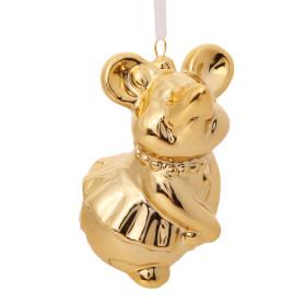 Украшение ёлочное символ года мышь «Дама», 7 см, керамика, цвет золотой