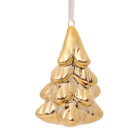Украшение ёлочное «Ёлка», 7 см, керамика, цвет золотой