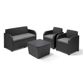 Набор садовой мебели Novara полиротанг серый: стол, диван и 2 кресла