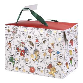 Пакет-коробка подарочный «Полярные мишки» 15x11 см