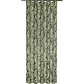Штора на ленте «Малье», 260х160 см, растения, цвет зелёный