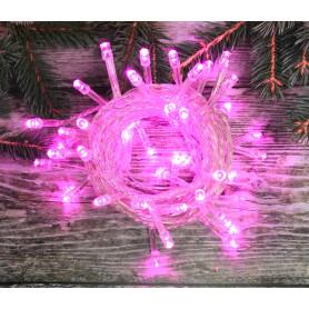 Электрогирлянда комнатная «Нить» 10 м 100 LED розовый