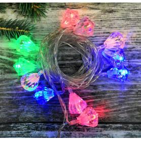 Электрогирлянда комнатная нить «Алмазы» 5.5 м 20 LED мультисвет