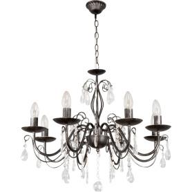 Люстра хрустальная подвесная «Аврора», 8 ламп, 24 м², цвет чёрный