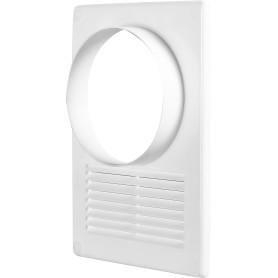 Решётка вентиляционная с фланцем, D125 мм, 170х240 мм, цвет белый