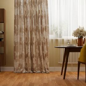 Штора на ленте «Эллениум», 160x270 см, цветы, цвет бежевый