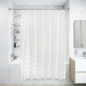 Штора для ванны Chiara SWC-90 с кольцами 180х200 см, полиэстер, цвет белый/золотой