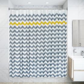 Штора для ванны Olbia SWC-90 с кольцами 240х200 см, полиэстер, цвет серый/жёлтый