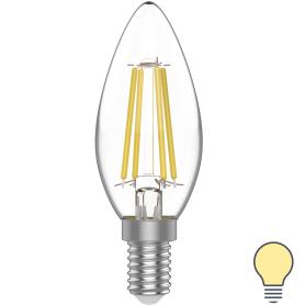 Лампа филаментная светодиодная Gauss E14 220 В 4.5 Вт свеча 400 лм, тёплый белый свет