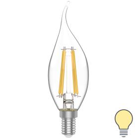 Лампа светодиодная Gauss E14 220 В 4.5 Вт свеча на ветру 400 лм, тёплый белый свет