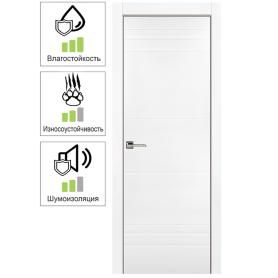 Дверь межкомнатная глухая с замком в комплекте Рива 60x200 см эмаль цвет белый