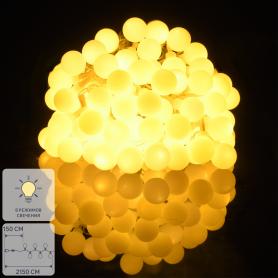 Электрогирлянда комнатная «Нить» 20 м 200 LED тёплый жёлтый