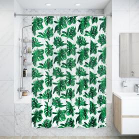 Штора для ванны Manu 180x200 см, полиэстер, цвет белый/зелёный