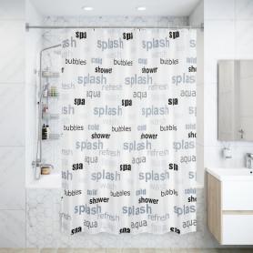 Штора для ванны Literas 180x200 см, полиэстер, цвет белый/серый