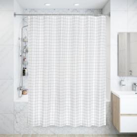 Штора для ванны Cube 180x180 см, полиэстер, цвет белый/чёрный
