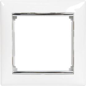 Рамка для розеток и выключателей Legrand Valena 1 пост, цвет белый/серый шёлк