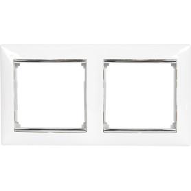 Рамка для розеток и выключателей Legrand Valena 2 поста, цвет белый/серый шёлк