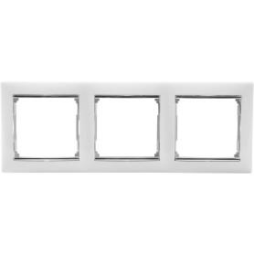 Рамка для розеток и выключателей Legrand Valena 3 поста, цвет белый/серый шёлк