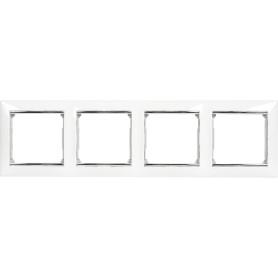 Рамка для розеток и выключателей Legrand Valena 4 поста, цвет белый/серый шёлк