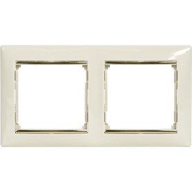 Рамка для розеток и выключателей Legrand Valena 2 поста, цвет слоновая кость/золотой шёлк