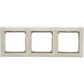 Рамка для розеток и выключателей Legrand Valena 3 поста, цвет слоновая кость/золотой шёлк