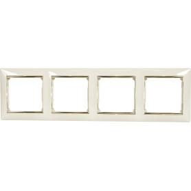 Рамка для розеток и выключателей Legrand Valena 4 поста, цвет слоновая кость/золотой шёлк