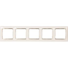 Рамка для розеток и выключателей Legrand Valena 5 постов, цвет слоновая кость/золотой шёлк