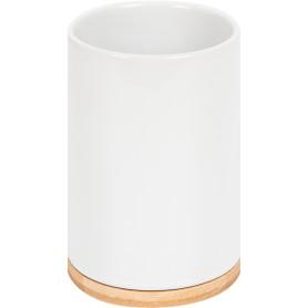 Стакан для зубныx щеток Exo керамика/бамбук белый