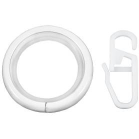Кольцо с крючком металл цвет белый глянец, 2 см, 10 шт.