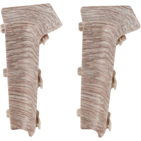 Угол для плинтуса внутренний «Дуб белёный», высота 80 мм, 2 шт.